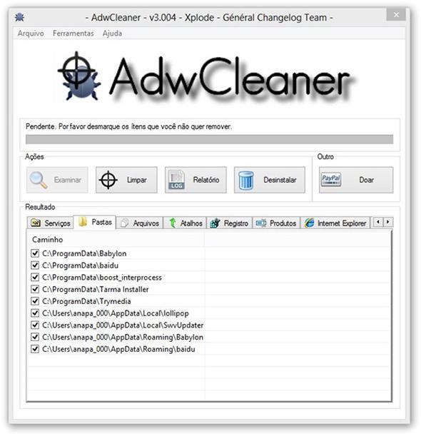 Procurando pragas instaladas no navegador com o AdwCleaner
