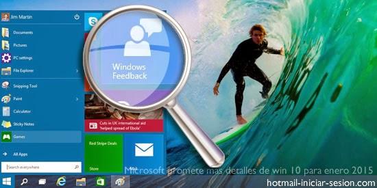 Correo hotmail - Microsoft promete más detalles de win 10 para enero 2015