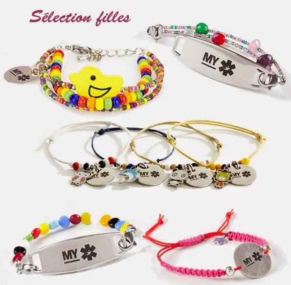 MYPOM - sélection de bracelets d'identification pour les filles