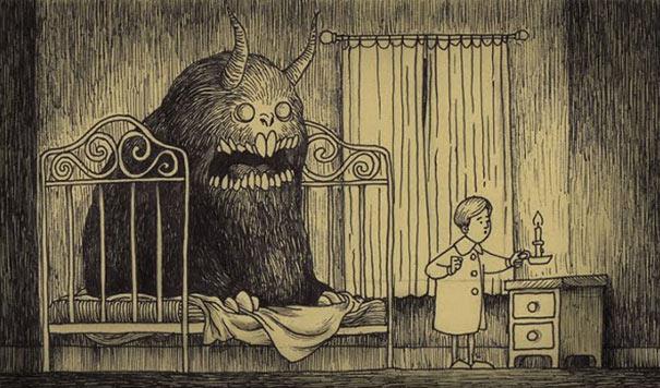 Artista dibuja monstruos aterradores sobre notas adhesivas