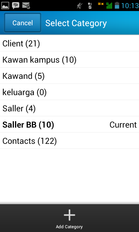 update kategori kontak bbm