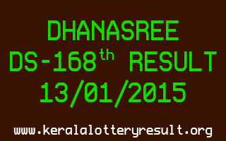 DHANASREE Lottery DS-168 Result 13-01-2015