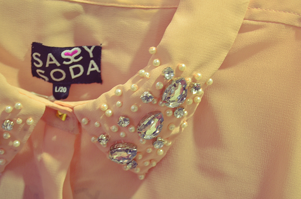 sassy soda embellished sheer blouse
