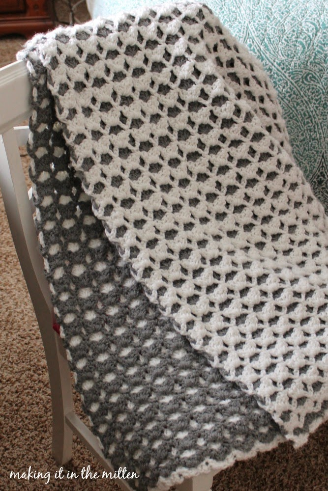 Making It In The Mitten Crocheted Double Sided Shell Blanket Pattern