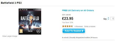 Shooter Battlefield 3 für PS3 bei TheHut für 28,89 Euro