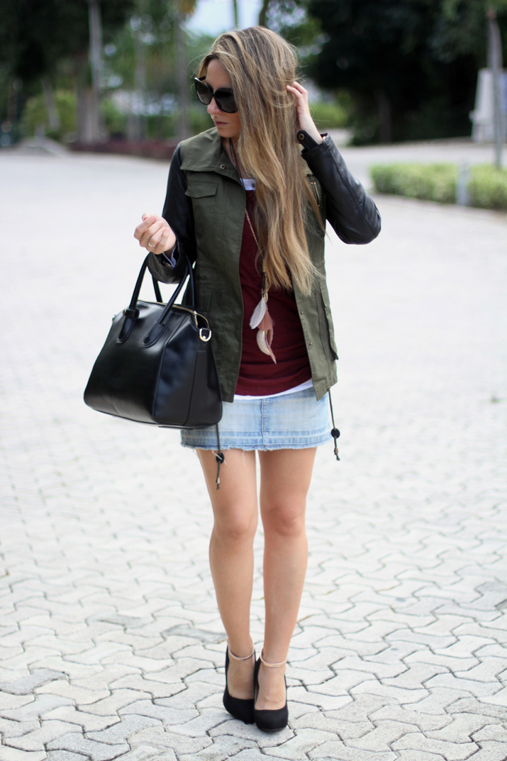 Military parka with leather sleeves