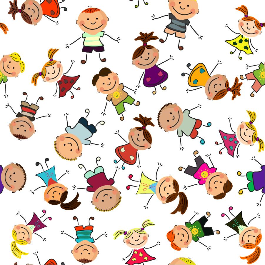 free vector がらくた素材庫: 元気な子供が集合したクリップアート cute