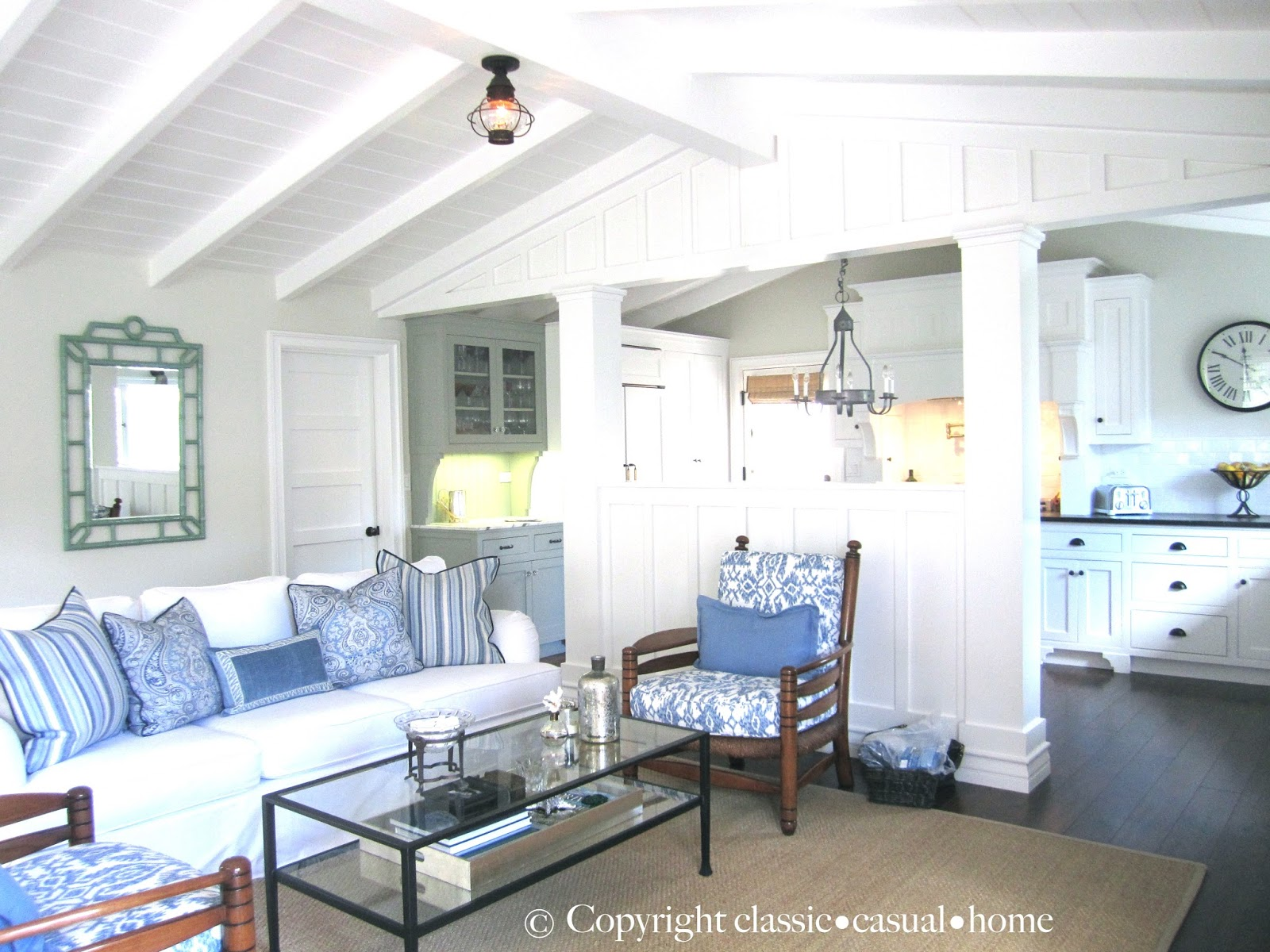 Living Room Home And Interiors classic casual home interiors blue and white beach cottage