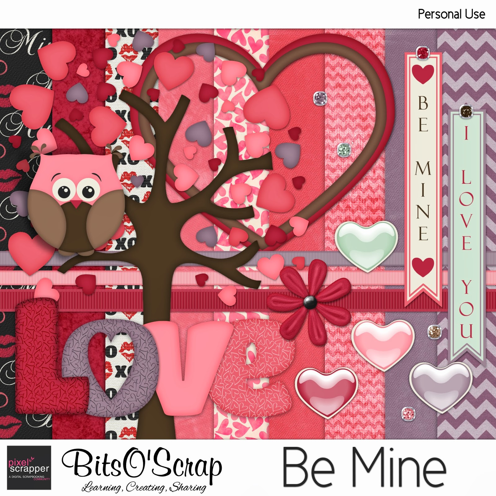"Pixel Scrapper February 2014 Blogtrain ""Be Mine"""