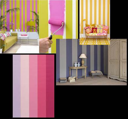 ... un motivo a righe utilizzando i colori lilla, rosa, verde e bianco