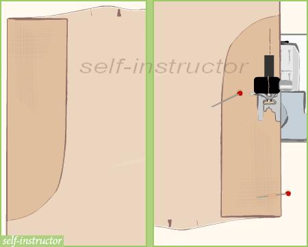 прикачане на отделно скроена мостра към лявата предница на панталон