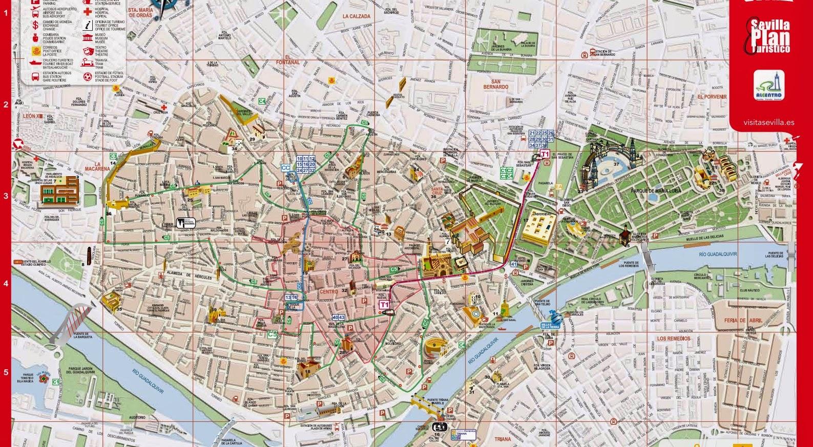 Carte touristique de Seville