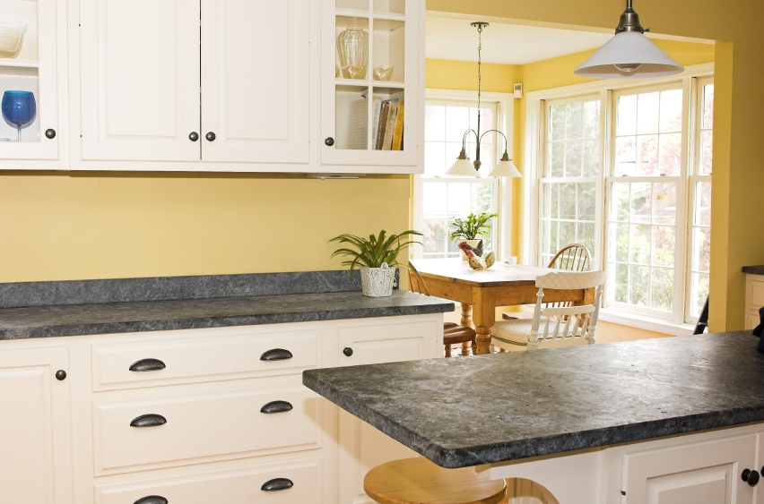 Home kitchen design photos soapstone countertops with What color cabinets go with yellow walls