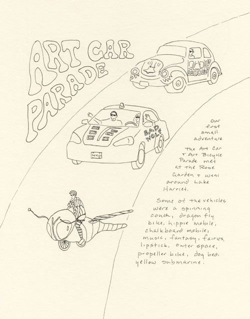 artist journal page with art car parade drawing