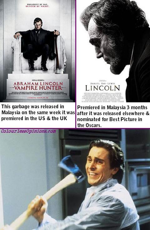 Abraham Lincoln Vampire Hunter vs Lincoln 2012 film movie Christian Bale meme
