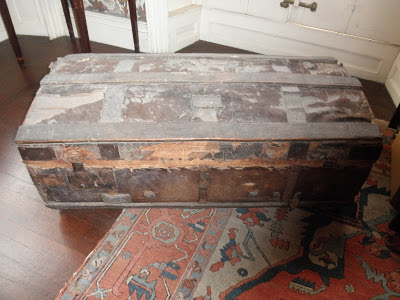 antique wooden travel chest, museum collection care, art conservator needed