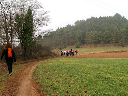 Caminant entre camps i amb el Serrat de Vilanova al fons