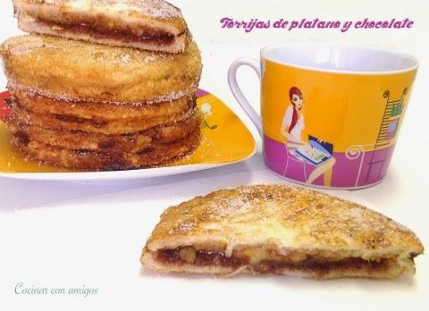 Torrijas Rellenas de Plátano y Chocolate
