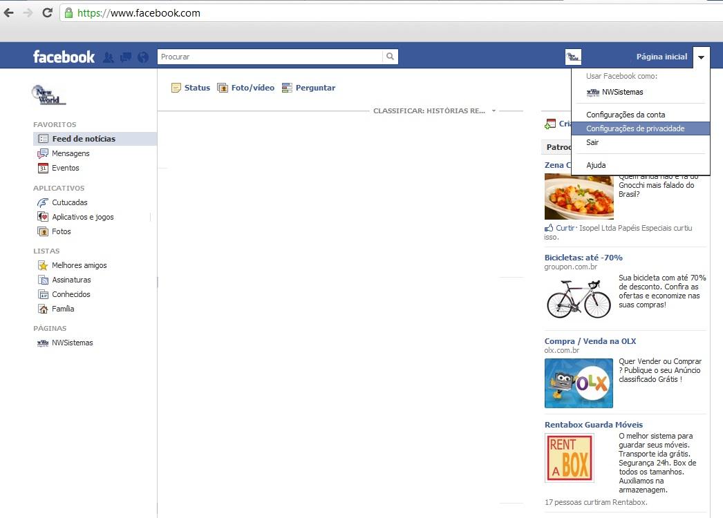 ... vá à sua página inicial e clique em c onfigurações de privacidade