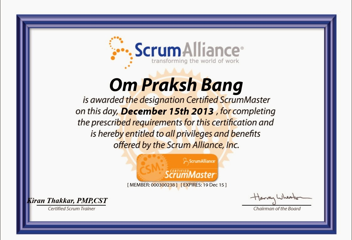 Certified Scrum Master Csm Being Agile