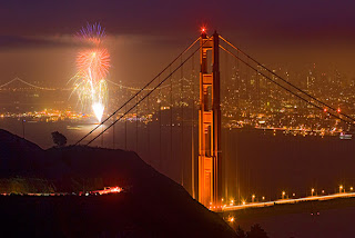 San Francisco-Goldengate bridge fireworks