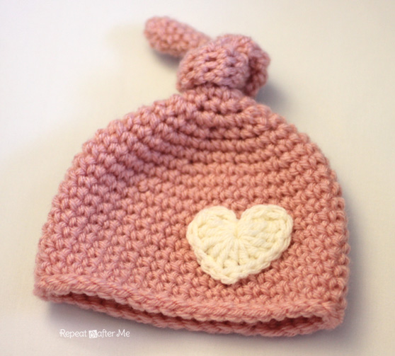 Crochet Pattern Newborn Girl Hat : Crochet Newborn Knot Hat Pattern - Repeat Crafter Me
