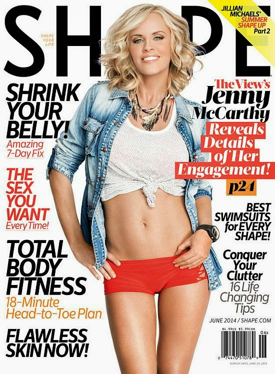 By gracing the cover of the June 2014 issue of Shape magazine, the blonde bombshell, Jenny McCarty shows off her seemingly ageless figure with fiancé, Donnie Wahlberg when she reached her 40's lock.