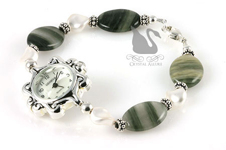 Moss Agate Pearl Elegance Beaded Watch (W09)