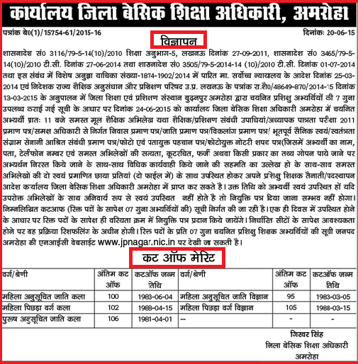 UP 72000 Prashikshu Shikshak Bharti Latest Cut Off Merit List of Moradabad, Rampur ,Amethi ,Jaunpur & Armoha District June 2015