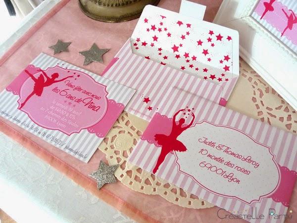 ensemble du kit d'invitation créastelle party thème danseuse étoile