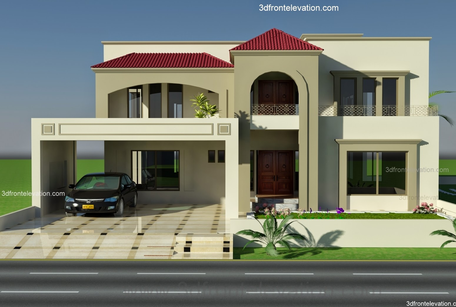 3d front 1 kanal plot house design europen for One kanal house plan