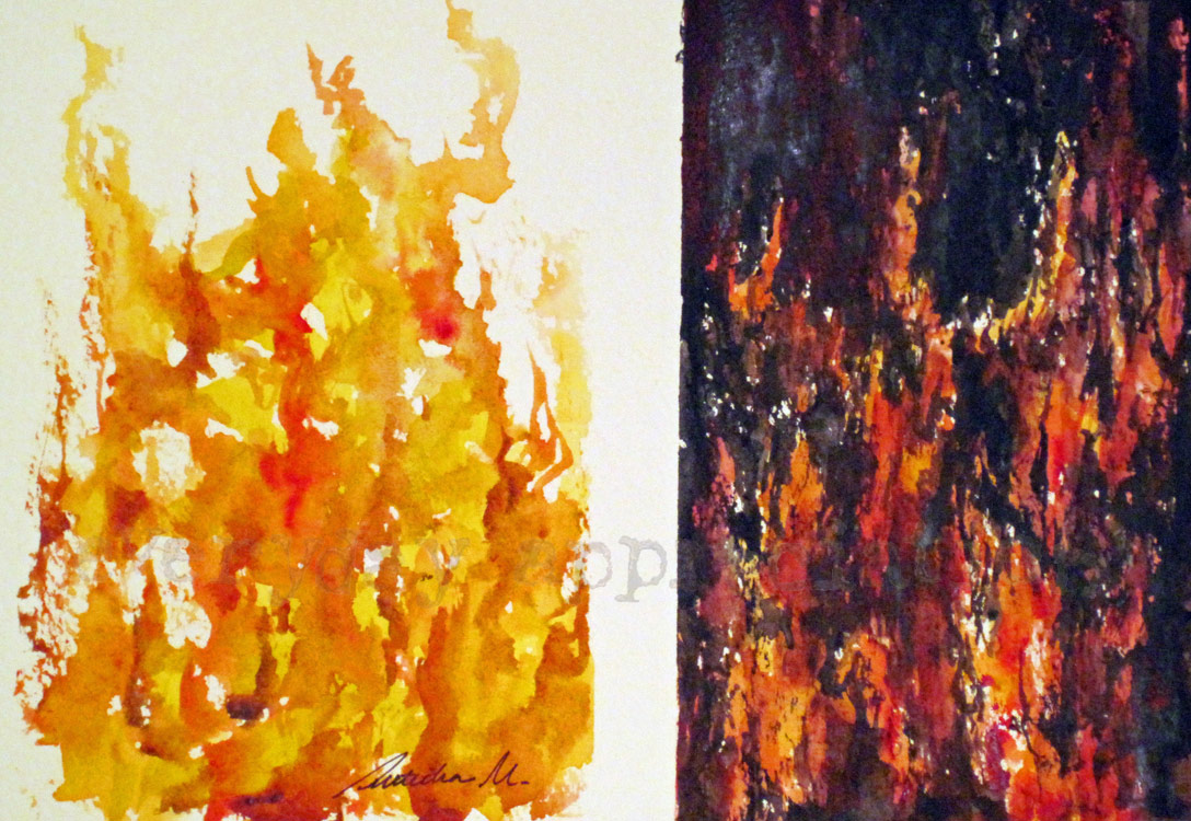 My Project Log: Day 189: Watercolor Fire