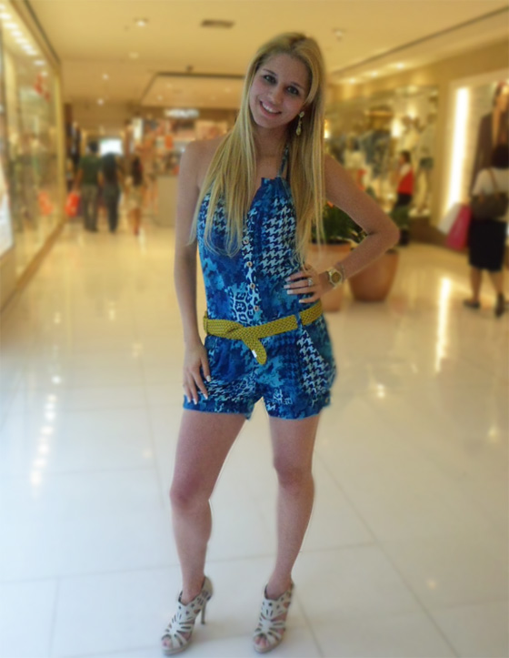 Look Crossdresser: Macaquinho estampado azul