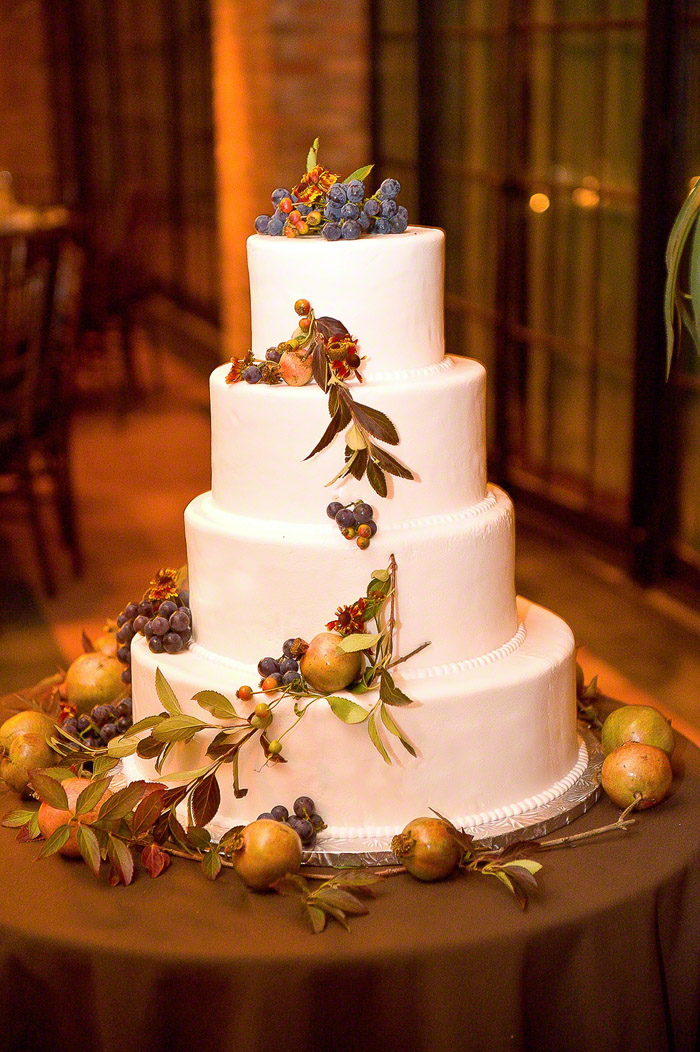 A Simple Cake: Fresh Fruits and Vine Wedding Cake