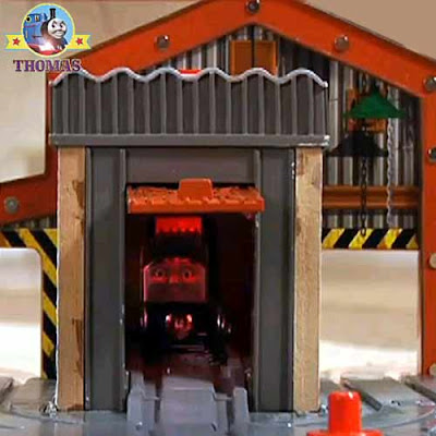 Toy Dieselworks Day of the diesels Thomas wooden railway layout diesel 10 engine glowing red shed