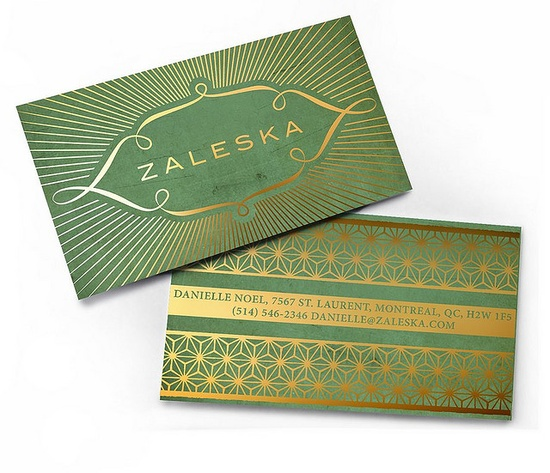 gorgeous green and gold business cards