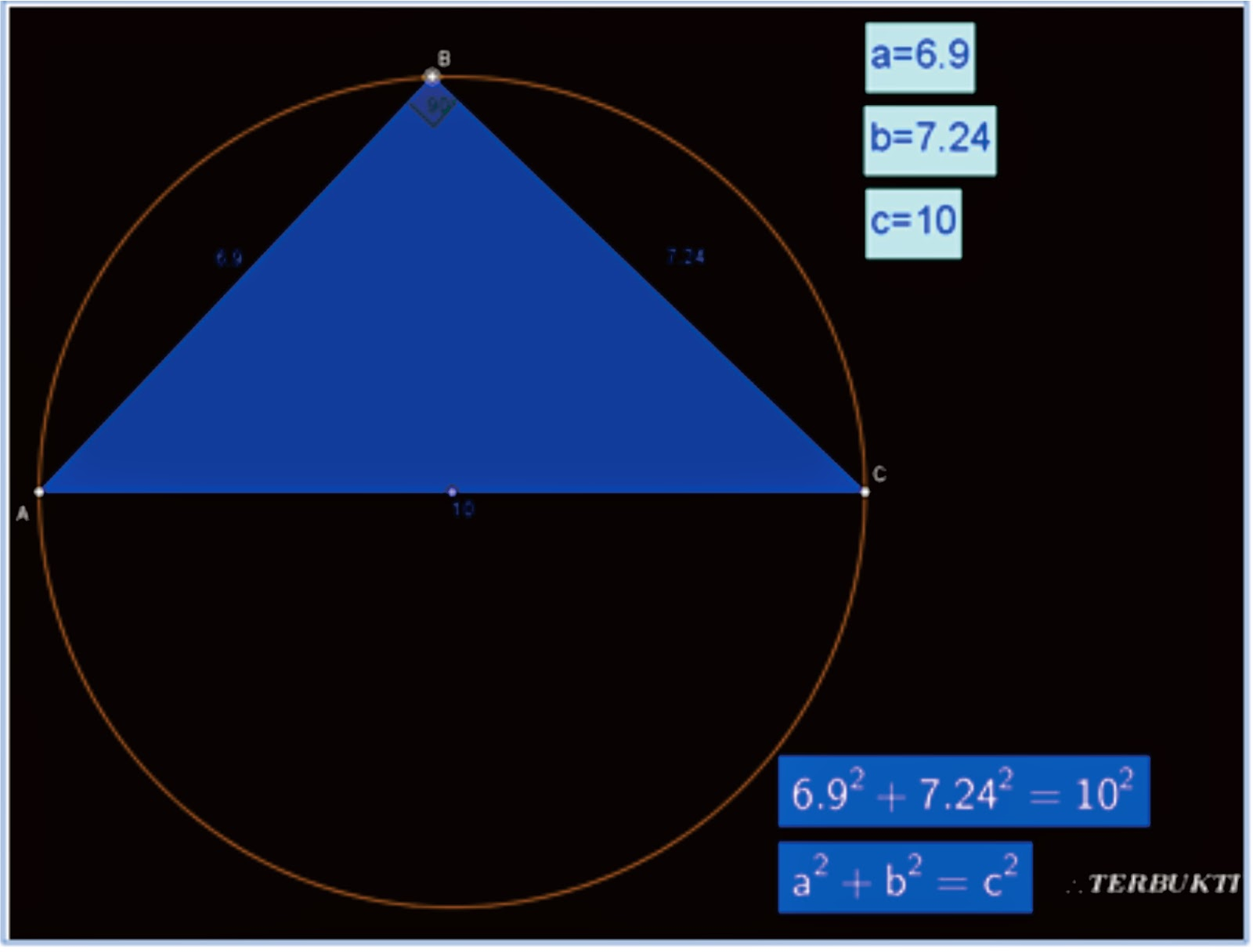 Pembuktian Rumus Pyhtagoras dengan Software Geogebra