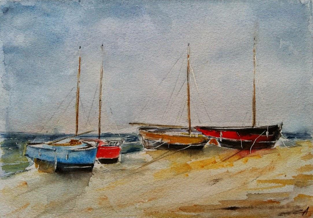 bateaux bretagne mer aquarelle échoués estran