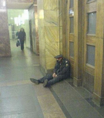 Funny picture policeman fell asleep at the station