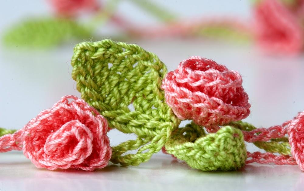 Yarn Twist: New Crochet Necklace - Rose Garden