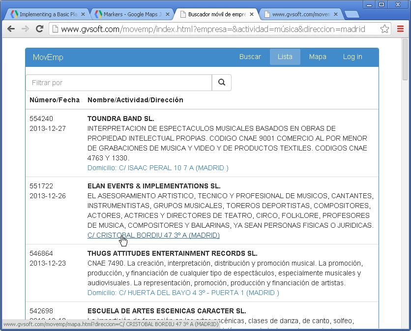Buscador móvil empresas - listado de resultados con enlaces de direcciones