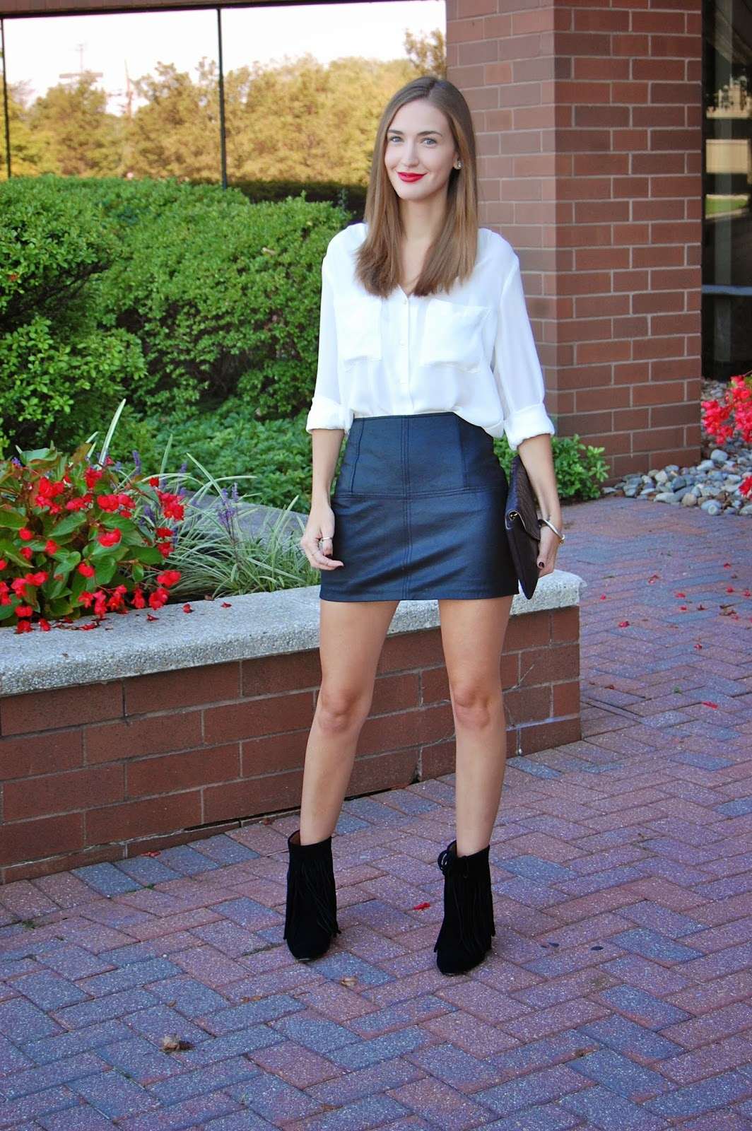 Wearing ASOS leather mini skirt, Koolaburra Zarin Fringe Ankle Bootie