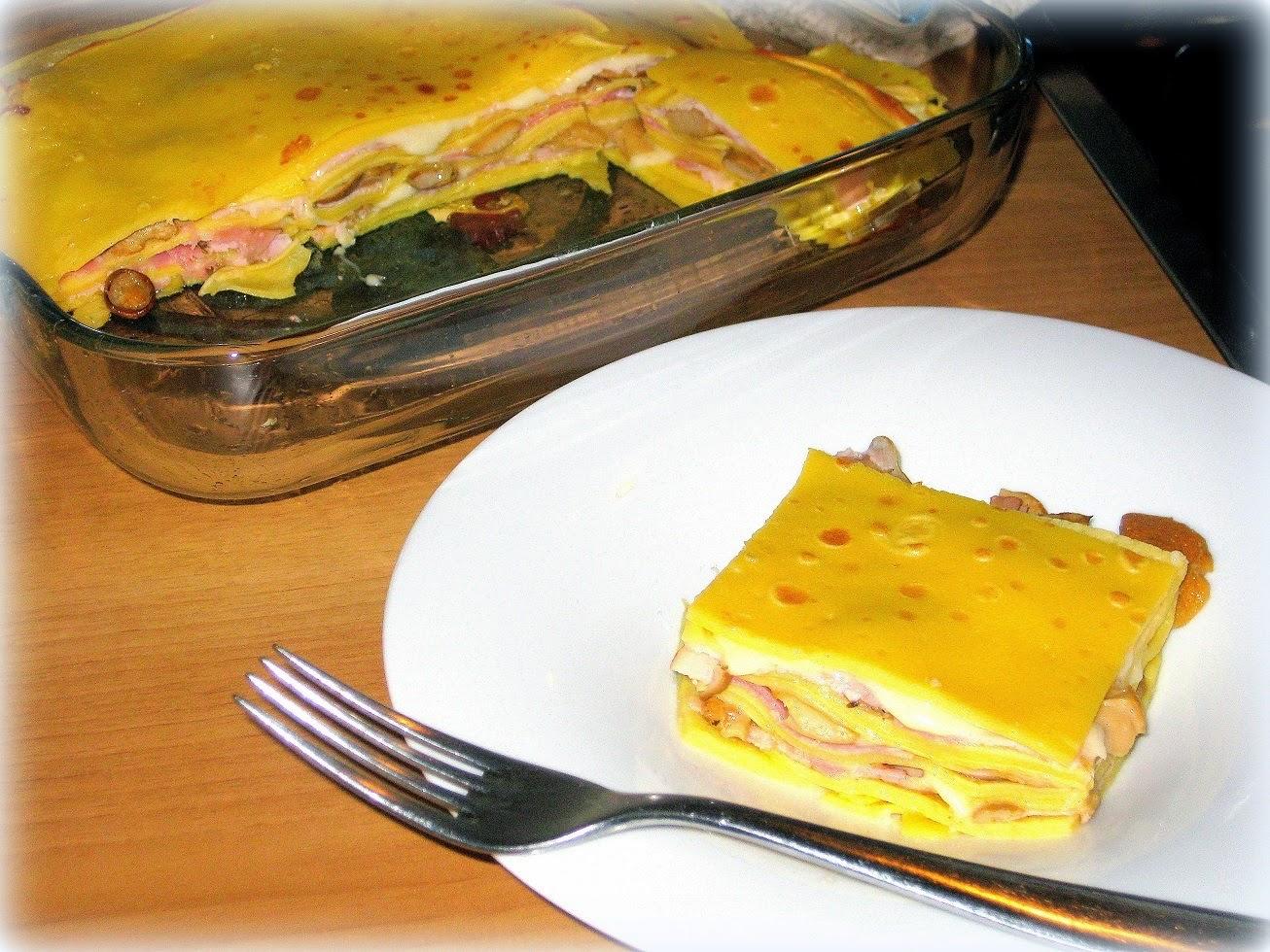 lasagne di crepes con funghi e porchetta
