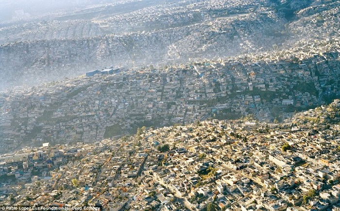 Mexico City, an overdeveloped metropolis with over 20 million inhabitants.