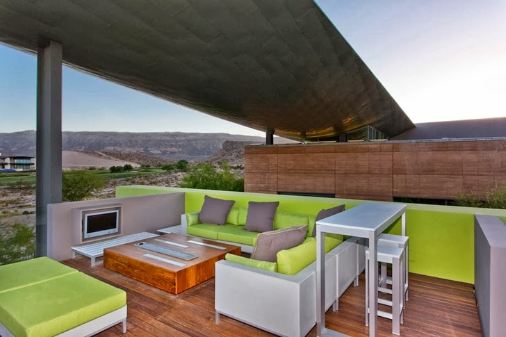 Balcony furniture in Multimillion modern dream home in Las Vegas