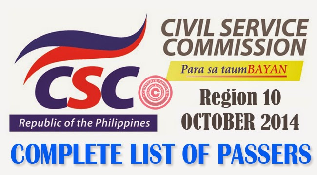 Region 10 Civil Service Exam Results October 2014- Paper and Pencil Test List of Passers