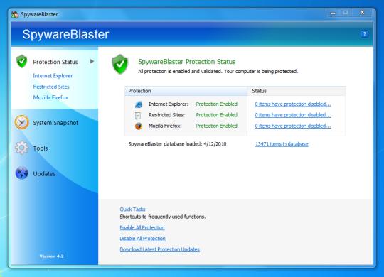 برنامج مجاني لحجب برامج التجسس ومنع تتبع الكوكيز بشكل تلقائي SpywareBlaster 5.2