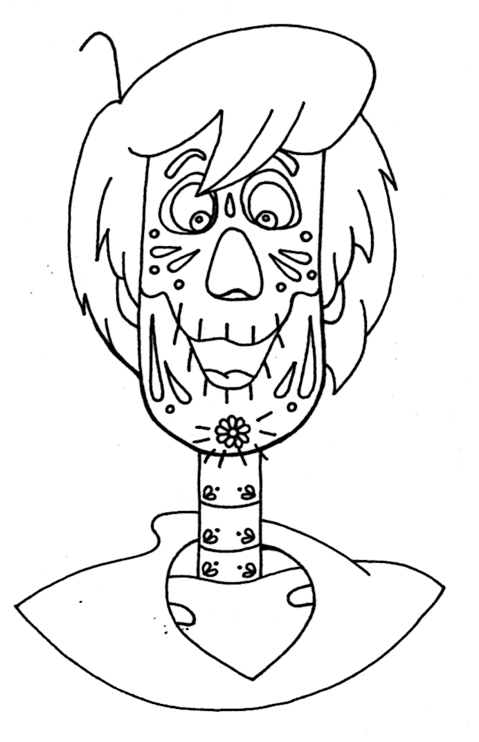 Yucca Flats N M Wenchkin S Coloring Pages Dia De Los Shaggy Coloring Page