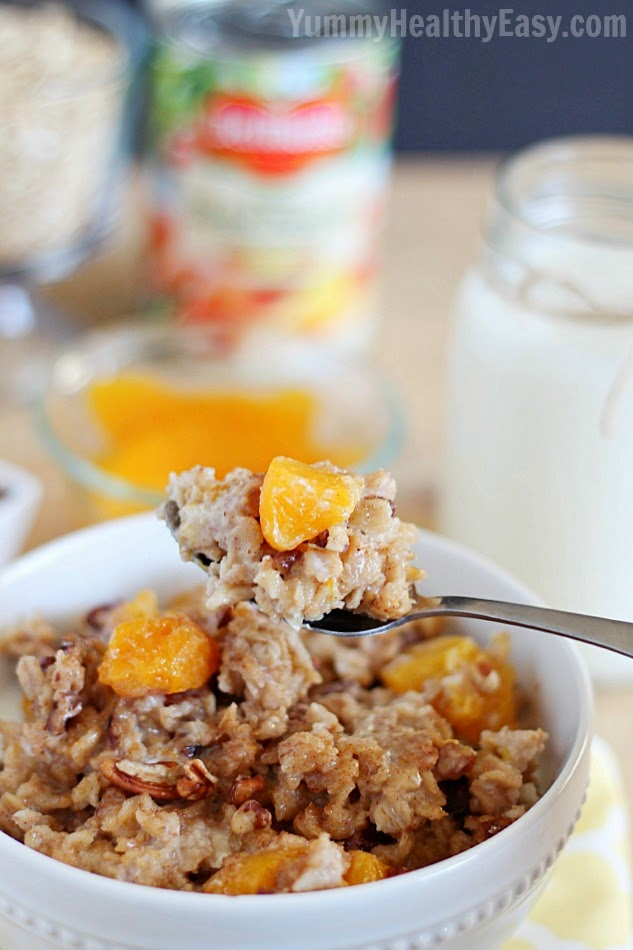 This Slow Cooker Peach Oatmeal will be your new favorite easy breakfast recipe! AD