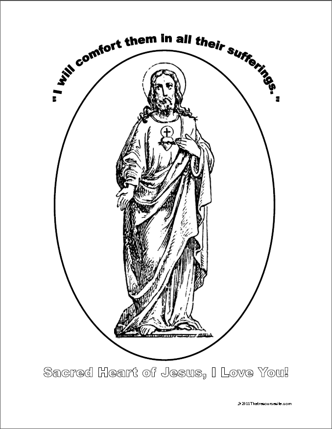 heart and jesus coloring pages - photo#21
